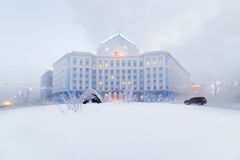 Severe frost in Norilsk. Royalty Free Stock Photos