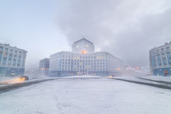 Severe frost in Norilsk. Royalty Free Stock Photography