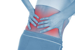 Free Severe Pain In The Kidneys, Shown Red, Keep Handed Stock Photography - 32200112