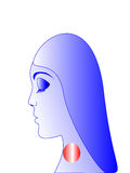 Severe pain in the throat. The woman has severe pain in the throat, redness Stock Image