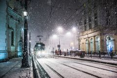 One powerful snow storm one night in Warsaw. Severe powerful snow in Warsaw. One snowy winter night in the city Royalty Free Stock Photography