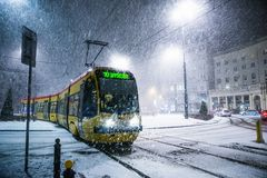 One powerful snow storm one night in Warsaw stock photos