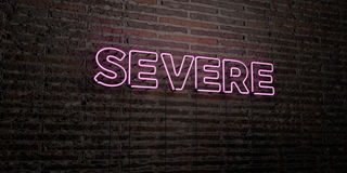 SEVERE -Realistic Neon Sign on Brick Wall background - 3D rendered royalty free stock image Royalty Free Stock Photo