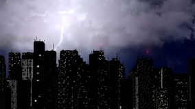 Severe storm breaking over megalopolis skyscrapers, natural phenomenon. Stock footage Stock Photos