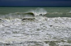 Severe storm at sea. Big waves on the Black sea Royalty Free Stock Image