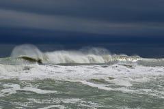 Severe storm at sea. Big waves on the Black sea Royalty Free Stock Photos
