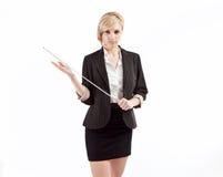 Severe teacher holding pointer stock image