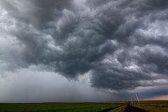 Severe Thunderstorm Forming - Illinois. A Severe Thunderstorm forms over the flat farmlands of central Illinois Royalty Free Stock Photos