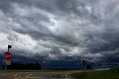 Severe Thunderstorm - Illinois. Threatening storm clouds over the landscape of northern Illinois Stock Photos