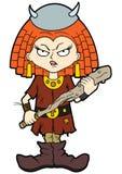 Severe viking kid girl Stock Images