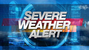 Severe Weather Alert - Broadcast Graphics Title stock video footage