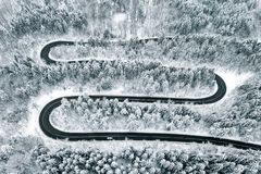 Severe weather conditions on road in winter time. Aerial shot using a high resolution drone stock photos