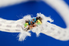 A severed power cable. Royalty Free Stock Photos