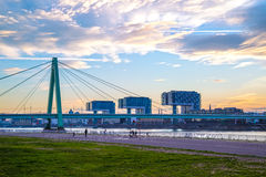 Free Severins Bridge And Landmark Crane Houses (in German: Kranhaus) Situated Along Rhine River In Cologne Stock Images - 70523034
