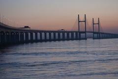 severn桥梁的黄昏 库存照片