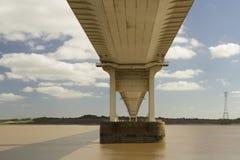 Severn桥梁,连接威尔士的吊桥用Engla 免版税库存照片