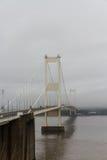 Severn桥梁,连接威尔士的吊桥用Engla 库存照片