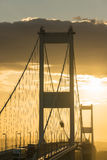 Severn Bridge över floden Severn Estuary royaltyfri foto