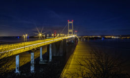 Severn Bridge. The Severn bridge crossing at night Stock Image
