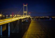 Severn Bridge. The Severn bridge crossing at night Royalty Free Stock Photo