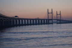 Severn Bridge Dusk. The Severn Bridge At Dusk stock photos