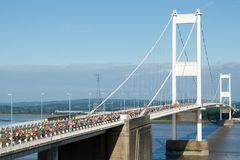 Severn Bridge Half Marathon, Gloucestershire, het UK Stock Foto
