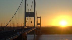 Severn Bridge sobre o rio Severn Estuary video estoque