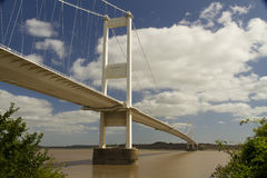 The Severn Bridge, suspension bridge connecting Wales with Engla. The Severn Bridge (welsh Pont Hafren) crosses from England to Wales across the rivers Severn Stock Image