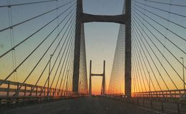 Severn crossing dawn sun Stock Photography