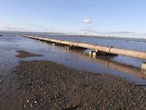 Severn-Strand auf der Mündung, Rohr, das in Meer, Gloucestershir einsteigt Lizenzfreie Stockfotos