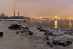 Severodvinsk. Evening city in winter. Severodvinsk Royalty Free Stock Image