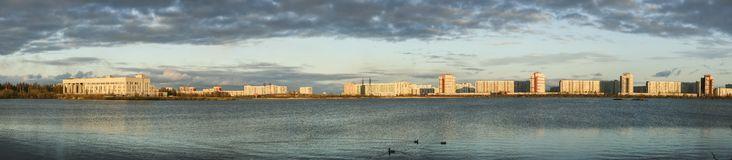 Severodvinsk City. Big beautiful panorama of Severodvinsk from the lake Stock Photography