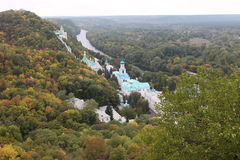 Seversky Donets River and Church of the Monastery. Beautiful view of the river Seversky Donets, and Church of the monastery, Ukraine Stock Photos