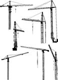 Sevev building cranes on white Royalty Free Stock Images