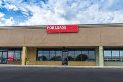 Sevierville, TN / United States - October 15, 2018: Horizontal shot of Retail Space Available in an old strip shopping center royalty free stock photo