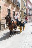 SEVILHA, A ANDALUZIA, ESPANHA - 1º DE OUTUBRO DE 2017: carria velho típico Imagens de Stock Royalty Free