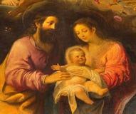 Sevilha - detalhe de família santamente da pintura central a adoração dos pastores do altar principal na igreja Iglesia de la Anu Imagem de Stock