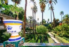 SEVILHA, ESPANHA, O 16 DE OUTUBRO DE 2012: Jardim em Alcazars reais de S Foto de Stock