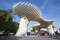 Sevilha - estrutura de madeira do parasol de Metropol situada no quadrado de Encarnacion do La Foto de Stock