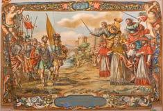 Sevilha - fresco da cena o ato do rei bárbaro Atilla com o Leão do st do papa o grande antes de paredes de Roma Imagens de Stock Royalty Free