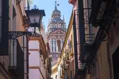 Sevilla Andalucia, Spain: historic buildings. Sevilla Andalucia, Spain: old typical street and historic belfry stock photos