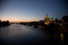 Sevilla bij nacht Royalty-vrije Stock Fotografie