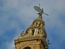 Sevilla, Cathedral 04. The iron statue atop the steeple of the massive gothic Cathedral of Sevilla in Sevilla, Spain Royalty Free Stock Photography