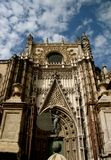 Sevilla Cathedral gothic entrance. A perspective view of the gothic entrance of Sevilla Cathedral, Spain Royalty Free Stock Image
