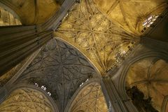 Sevilla Cathedral, Gothic Interiors Stock Images