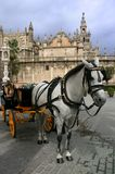 Sevilla Cathedral and typical horse cab Royalty Free Stock Photo