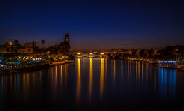 Sevilla, cityscape at night royalty free stock image