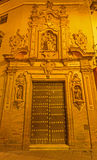 Sevilla - das barocke hauptsächlichportal des Kirche Capilla-Des San Jose (1716) durch Lucas Valdes lizenzfreies stockfoto
