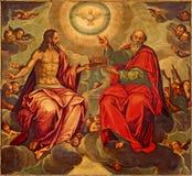 Sevilla - de Heilige Drievuldigheidsverf in kerk Iglesia DE La Anunciacion door Marcelo Coffermans (1560) stock foto