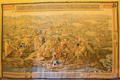 Sevilla - der Gobelin mit dem tunesischen Krieg in Jahr 1535 im gotischen Palast im Alcazar von Sevilla Stockfoto